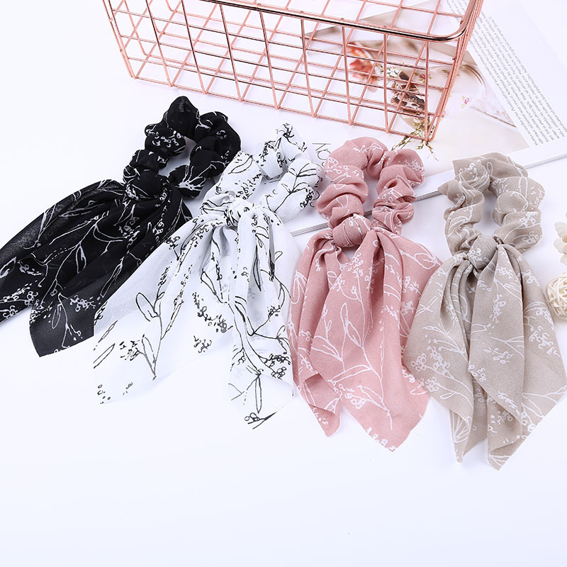 Korea Style Bohemian Scrunchie Print Chiffon Ribbon Women Elastic Hair Tie Soft Vintage Turban Bandage Female Hair Accessories