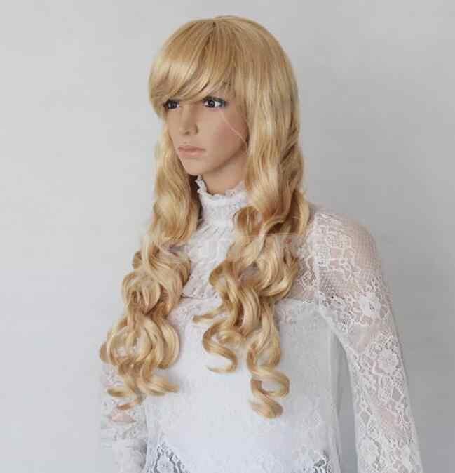 02220 Бесплатная доставка женские длинные золотые кудрявые полные парики