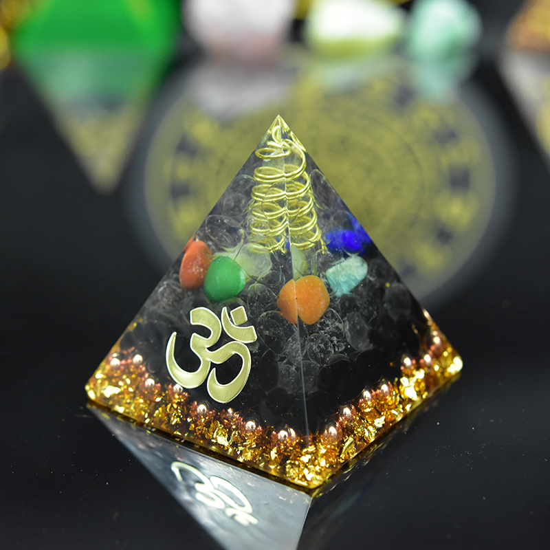 New Elite Reiki Orgone Pyramid Energy Generator Seven Chakra Meditation Yoga Development Black Tourmaline EMF Shield Pyramid