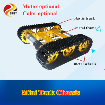 DOIT Metal Robot Tank Chassis mini T100 Crawler Caterpillar Tracked Vehicle with Plastic Tracked model diy teaching platform car