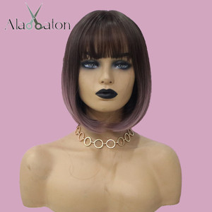 Image 2 - ALAN EATON Heat Resistant Synthetic Short Bobo Hair Wigs for Women Ombre Dark Brown Purple Wigs Perucas Cosplay Wigs with Bangs