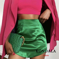 KONDALA Za 2021 Chic Green Sheath Mini Skirts Bright Silk Stain Sexy High Waist Skirts Stylish Fladas