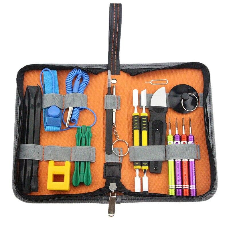 19 In 1 Phone Repair Tools Kit Bag For Iphone X 8 7 6S Repair Opening Multi Hand Tools Spudger Set Screwdrivers Tweezers