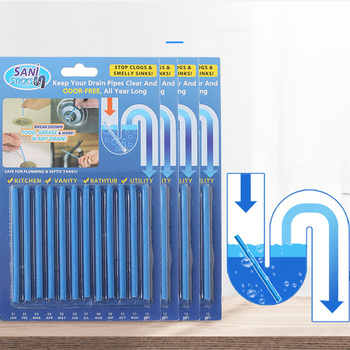 12PCS/ Set Drain Cleaning Sticks Clog Remover Pipe Dredging Rod Sewer Decontamination Cleaner Household For Kitchen Sink