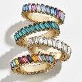 Новые трендовые кольца в стиле бохо, радужные женские кольца с кубическим инкрустированным сердцем, элегантные кольца с кристаллами вечнос...