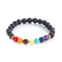 Handmade Healing Anti-fatigue 7 Chakra Matte Agate Stone Natural Lava Beads Slimming product Women Men Reiki Gem