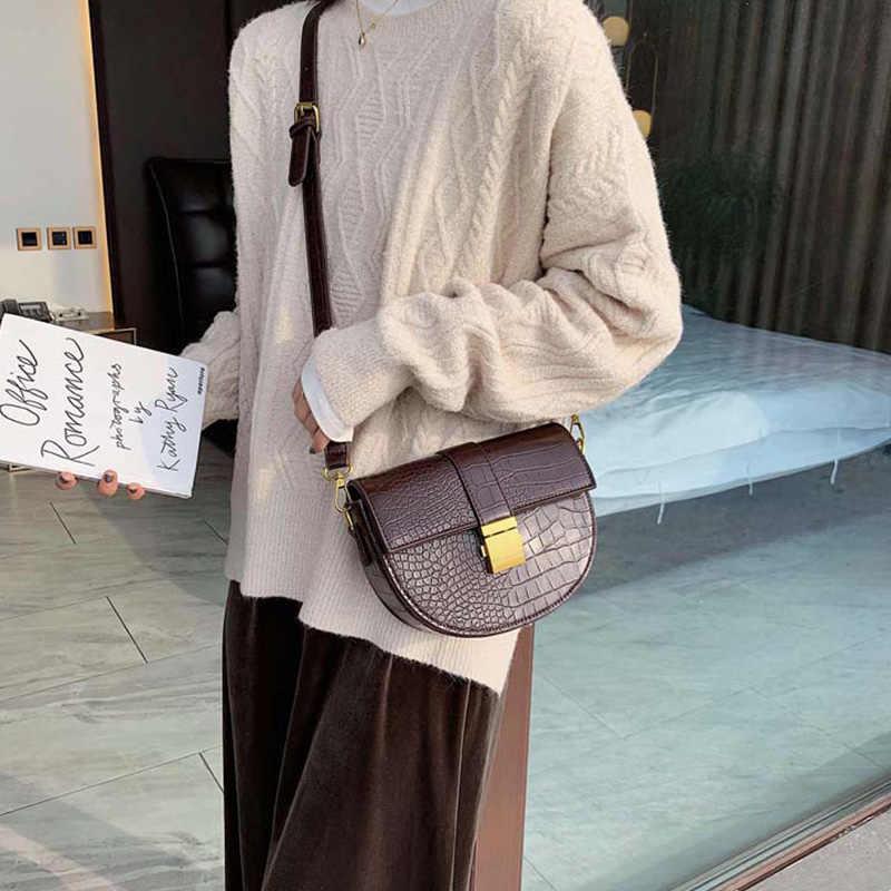 Mododiino Kulit Pelana Tas Batu Pola Tas Bahu Selempang Tas Kunci Messenger Tas Desainer Merek Terkenal Tas Wanita DNV1263