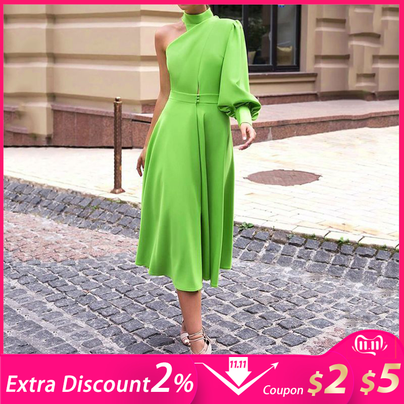 Long Lantern Lantern Sleeve Pullover <font><b>Dress</b></font> Women 2019 avocado Green One Shoulder Plus Size <font><b>4XL</b></font> Dinner Party midi <font><b>dress</b></font> Female image