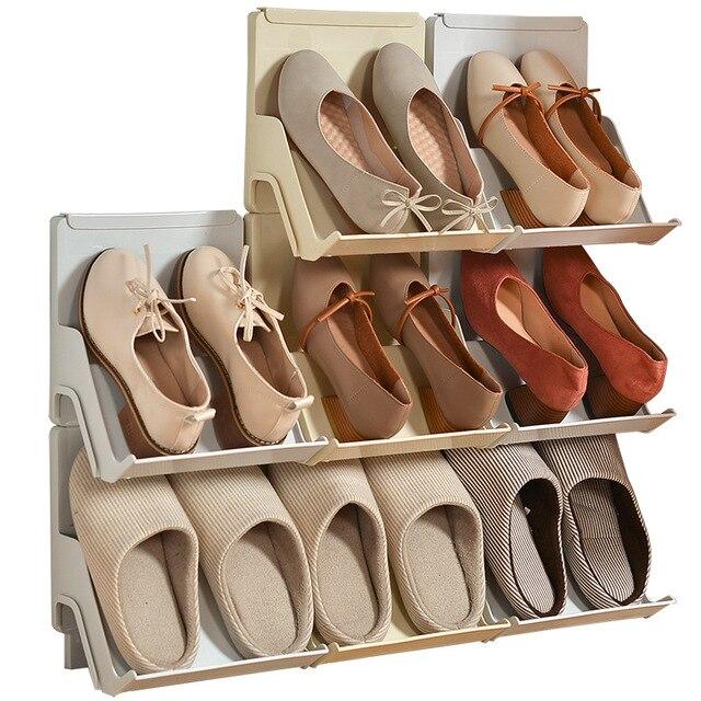 プラスチック靴ラックリビングルームシューズ棚 2 個自己アセンブリ家庭用垂直複合靴収納キャビネット戸口職人