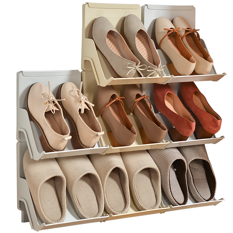 Plastic Shoe Rack Living Room Shoe Shelf 2Pcs Self Assembly Household Vertical Combined Shoe Storage Cabinet Doorway Shoemaker