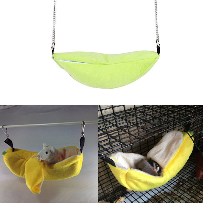 Lovely Pet House Cages Cricetulu Banana Shape Soft Breathable Cotton Wool Hanging Sleeping Bed Small Animal Supplies
