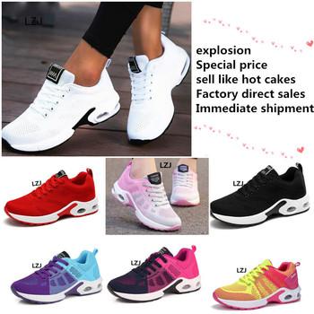 LZJ nowa platforma trampki buty oddychające buty na co dzień kobieta moda wysokość zwiększenie buty damskie Plus rozmiar 35-42 2019 tanie i dobre opinie Mesh (air mesh) Szycia Mieszane kolory Dla dorosłych Fabric Wiosna jesień Med (3 cm-5 cm) Lace-up Pasuje prawda na wymiar weź swój normalny rozmiar