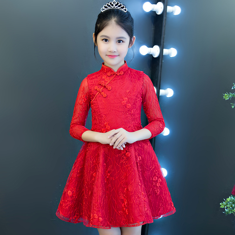 2019 Summer New Style Girls Dress Red Western Style Skirt Children Cheongsam Piano Performance Formal Dress Princess Dress