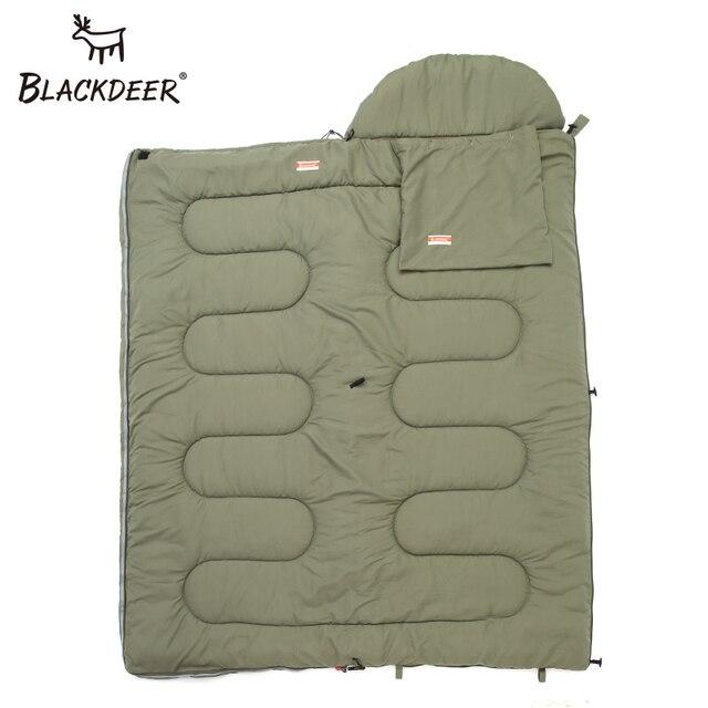 Blackdeer Camping Cotton Splice Sleeping Bag  Season Warm Pillow Hooded Envelope Sleeping Bag for Outdoor Traveling Hiking 3