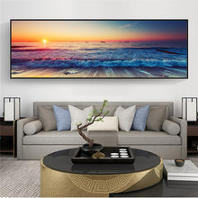 Canvas Paintings Sunset By The Sea on The Wall Art Posters and Prints Ocean Waves Art Pictures for Bed Room Wall Decor Cuadros
