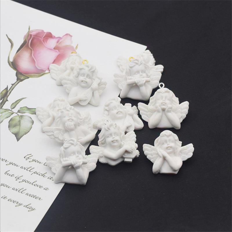 32X25mm 12pc Weiß Flügel Engel Baby Perlen Charms Baby Dusche Dekorationen Handwerk DIY Zubehör Geburtstag Handarbeit geschenk für Gast