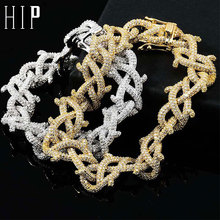 цена на Hip Hop Iced Out CZ Chain Thick Heavy Copper Zircon Thorns Cuban Link Bracelet For Men Jewelry Gold Silver