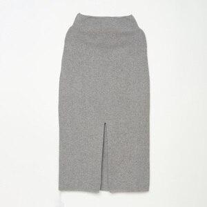 Image 3 - ニットミディスカート分割女性ハイウエストロングマキシ秋冬