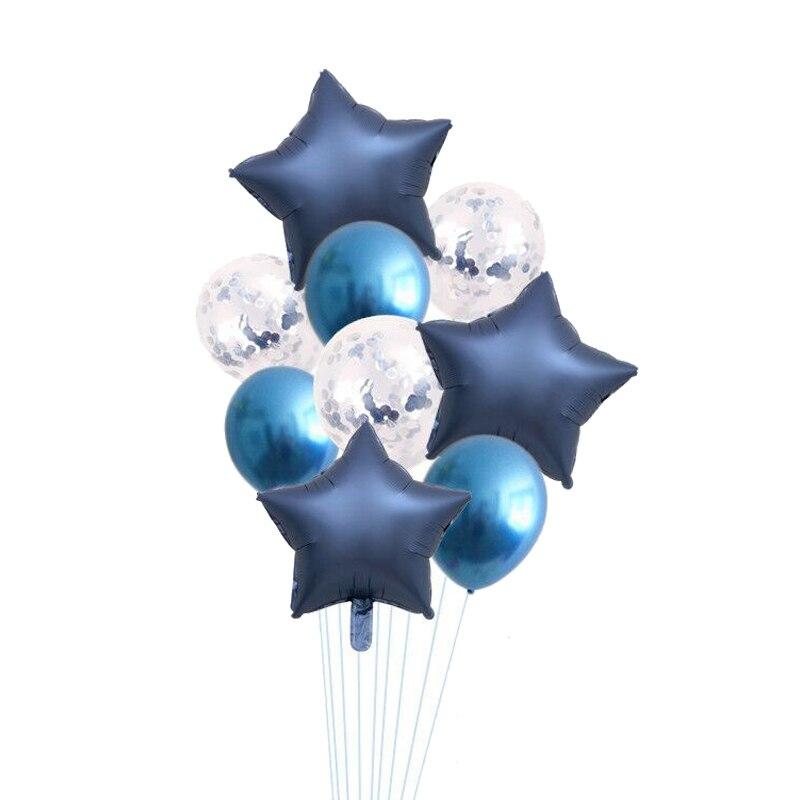 10 шт./лот 18 дюймов металлический и блестящий воздушный шар Сердце Звезда матовый гелиевый воздушный шар Свадебные вечерние принадлежности ...