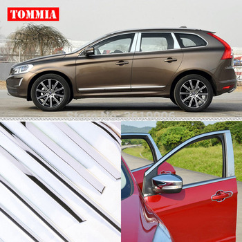 TOMMIA Full Window Middle Pillar Molding Sill Trim Chromium Styling Strips Stainless Steel For Volvo XC60 2011-2015