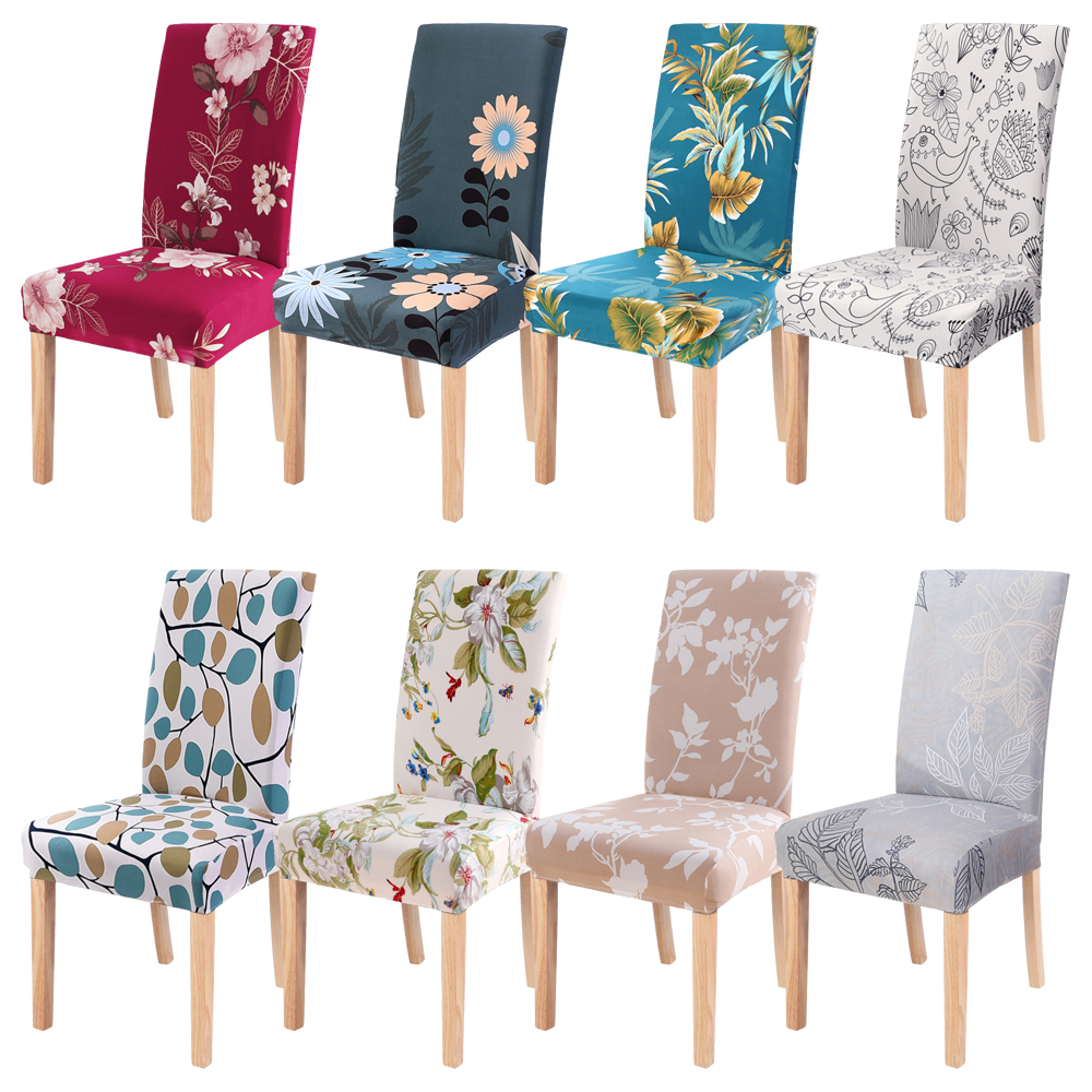 1/2/4/6pc Floral Printing Spandex Stretch Elastic Removable Chair Covers Seat For Wedding Dining Room Office Banquet Chair Cover