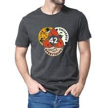 Unissex 100% algodão 42 a resposta à vida o universo e tudo douglas adams preto masculino camiseta feminino macio