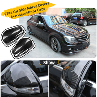 For Mercedes Benz W204 W212 Car Accessories W207 W176 W221 CLS CLA Car Rearview Mirror Caps Carbon Fiber Exterior Decoration