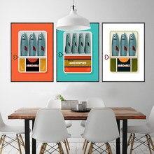 Casa decoração sardinhas em uma lata quadros em tela clássico 1960s retro poster comida arte da parede poster impressão fotos cozinha decoração de casa
