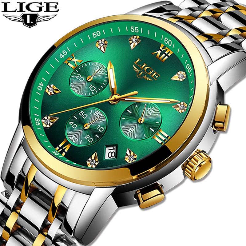 Relogio Masculino LIGE Green Water Ghost Fashion Brand Mens Watches Waterproof Date Luxury Clock Watch Men Quartz Wristwatch+Box