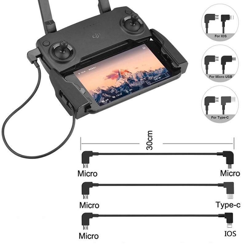 Câble de données OTG pour DJI Mavic Mini Pro Air Spark Mavic 2 Zoom Drone IOS type-c adaptateur Micro-USB connecteur de fil pour tablette téléphone