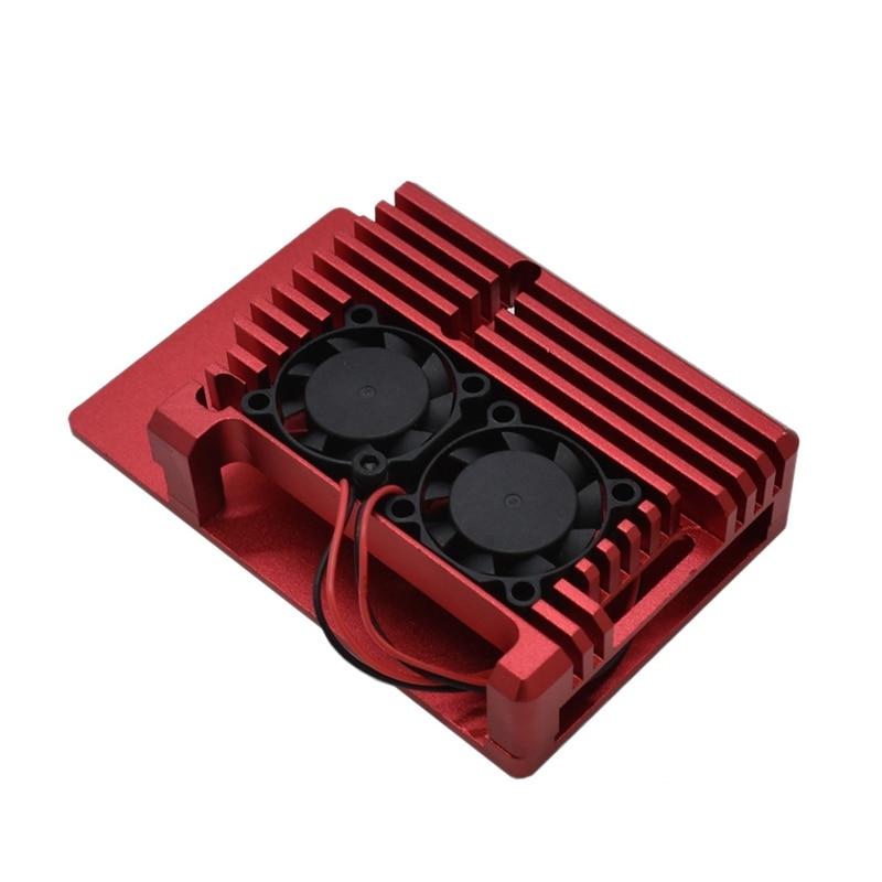 For Raspberry Pi 4 4B Aluminum Case Enclosure CNC Cover With Heatsink Cooling Dual Fan For Raspberry Pi 4 Model B