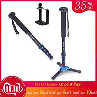 Manbily A 222+M 1 Base 1650mm Alumninum Camera Unipod Monopod Flip Lock w/3 Legs Base Tripod Stand For Canon Nikon DSLR & phone