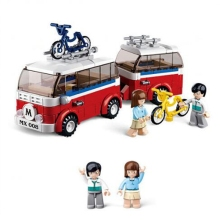 DIY 0566 simulation city camper set spell insert small particles building blocks childrens educational toys gifts