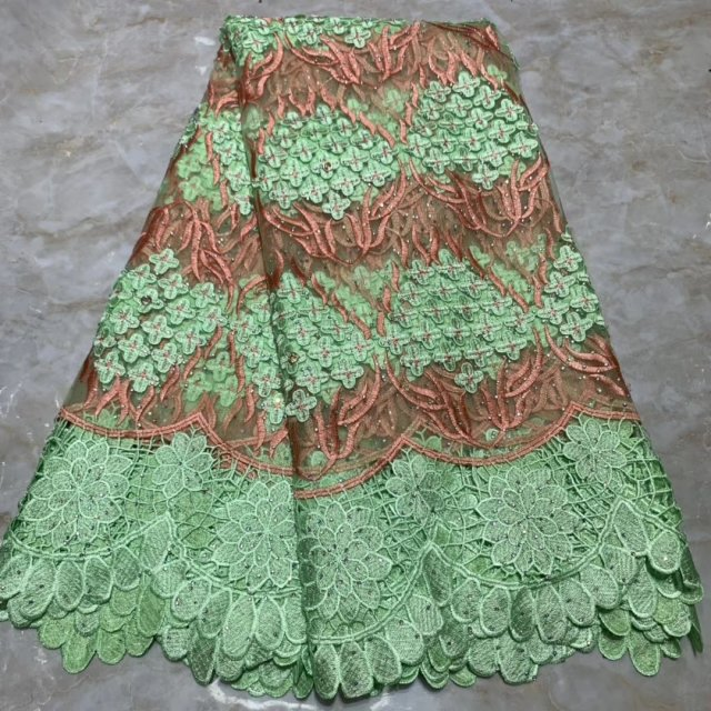 Green The Latest African Lace Fabrics High Quality French Lace Pearls Tulle Embroidered African Nigerian Lace Fabric Party Dress
