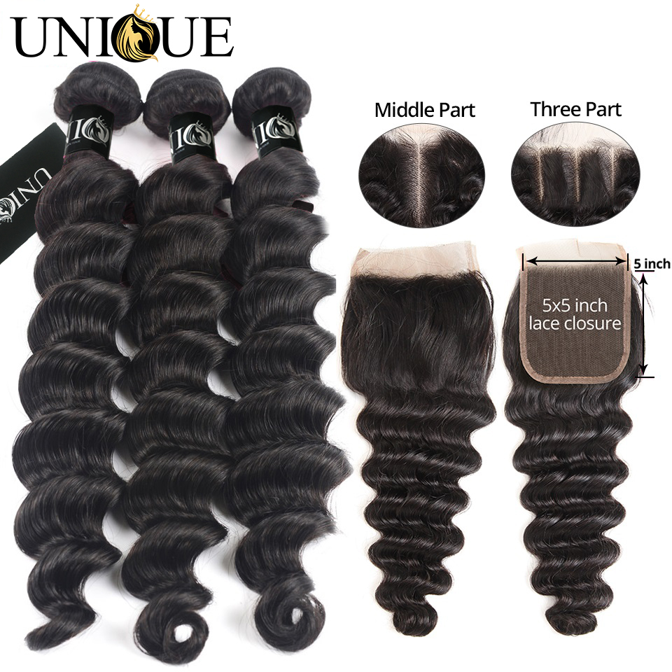 Loose Deep Wave Bundles With Closure 100% Human Hair 3 Bundles With Closure Deep Hair With Closure Yolissa Bundles With Closure