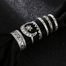 6 Pcs/set Fashion Female Geometric Pattern Star Moon Rings For Women Trendy Vintage White Rhinestone Metal Alloy Silver Ring Set pair of trendy geometric rhinestone alloy ear cuff for women