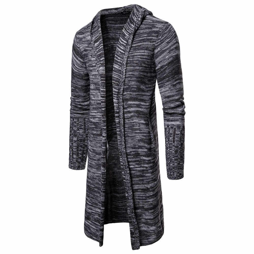 MRMT 2020 브랜드 남자 스웨터 자 켓 중간 길이 니트 카디 건 오버 코트 남성 착용 후드 긴 소매 자 켓