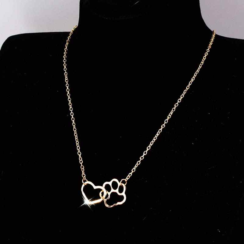 New Hollow Pet Paw Footprint Necklaces Golden Silsvery Cute Animal Dog Cat Heart Pendant Necklace For Women Girls Jewelry