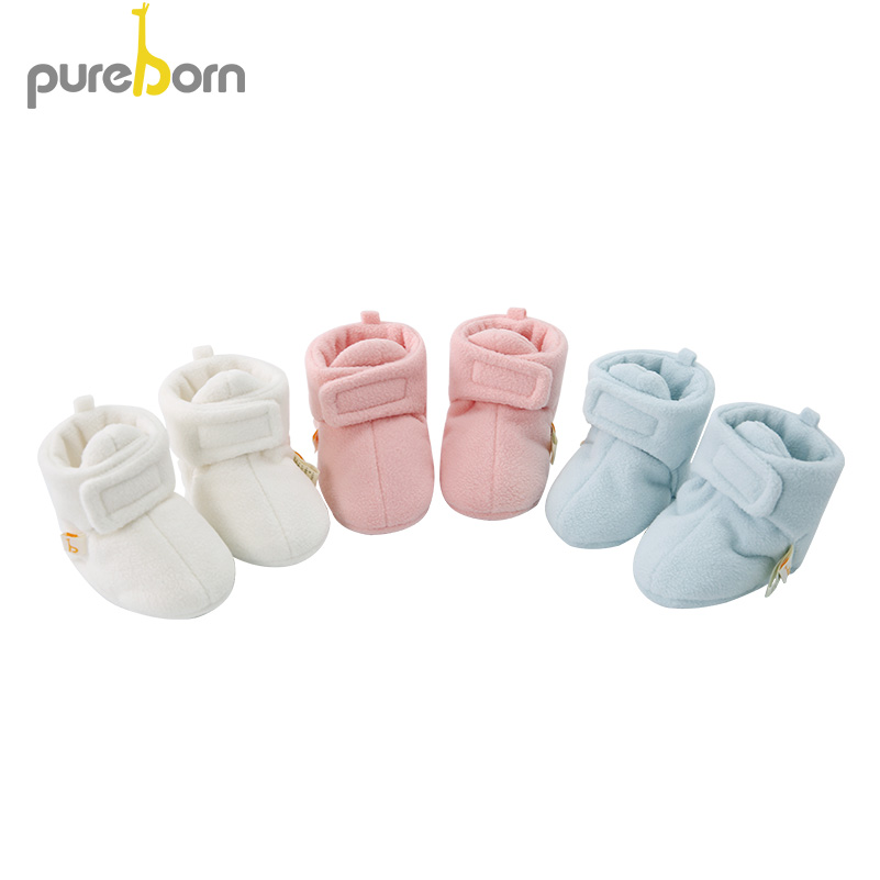 Pureborn Newborn Baby Shoes Hookloop Soft Bottom Baby Girl Shoes Fleece Slippers For Baby Boys Solid WInter First Walkers