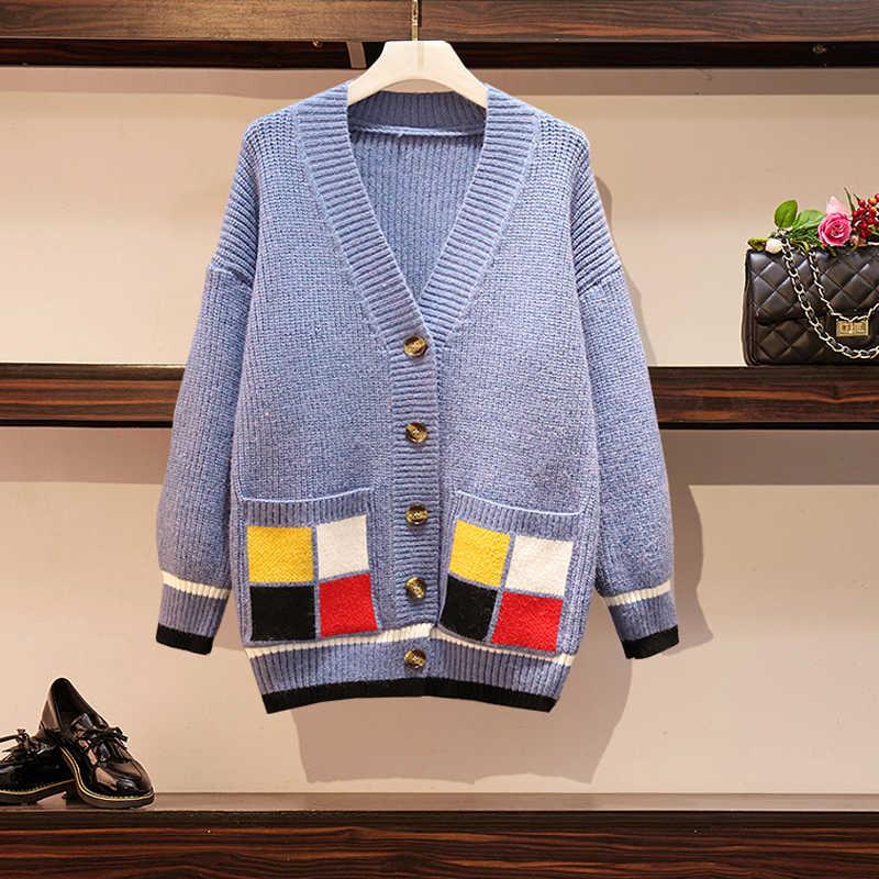Lucyever плюс размер новый осенний женский кардиган с v-образным вырезом свитер модный пэчворк однобортный карман корейский мягкий вязаный пальто 2019