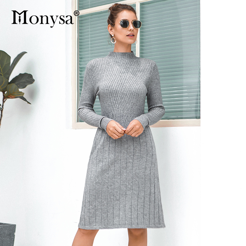 Casual Knitted Sweater Dresses Women New Arrival 2019 Autumn Long Sleeve Dress Ladies Knee Length Dress Winter Clothes 41