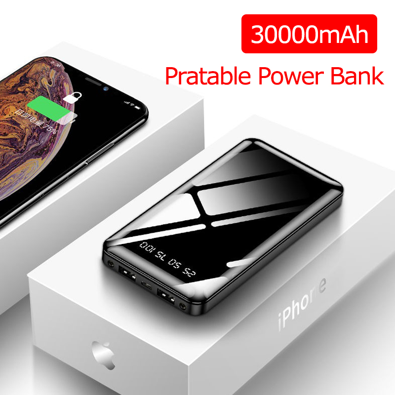 30000mAh Power Bank Portable Charging Powerbank Poverbank External Battery Pack Charger For IPhone Xiaomi Mi 9 11 Max