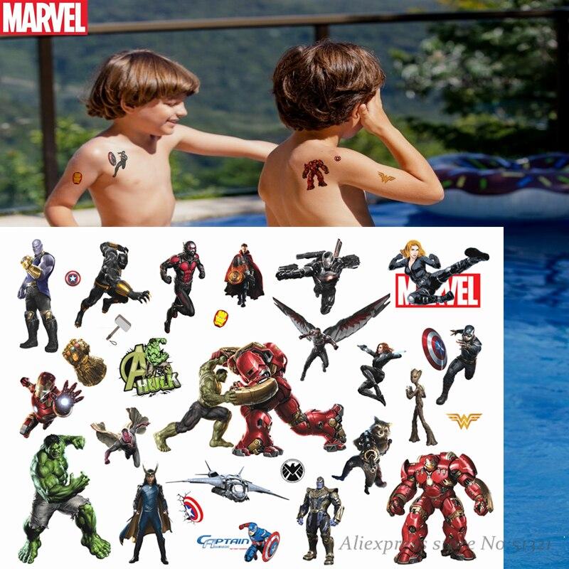 Hasbro Spiderman Marvel The Avengers Children Cartoon Temporary Tattoo Sticker For Boys Cartoon Toys Waterproof Party Kids Gift