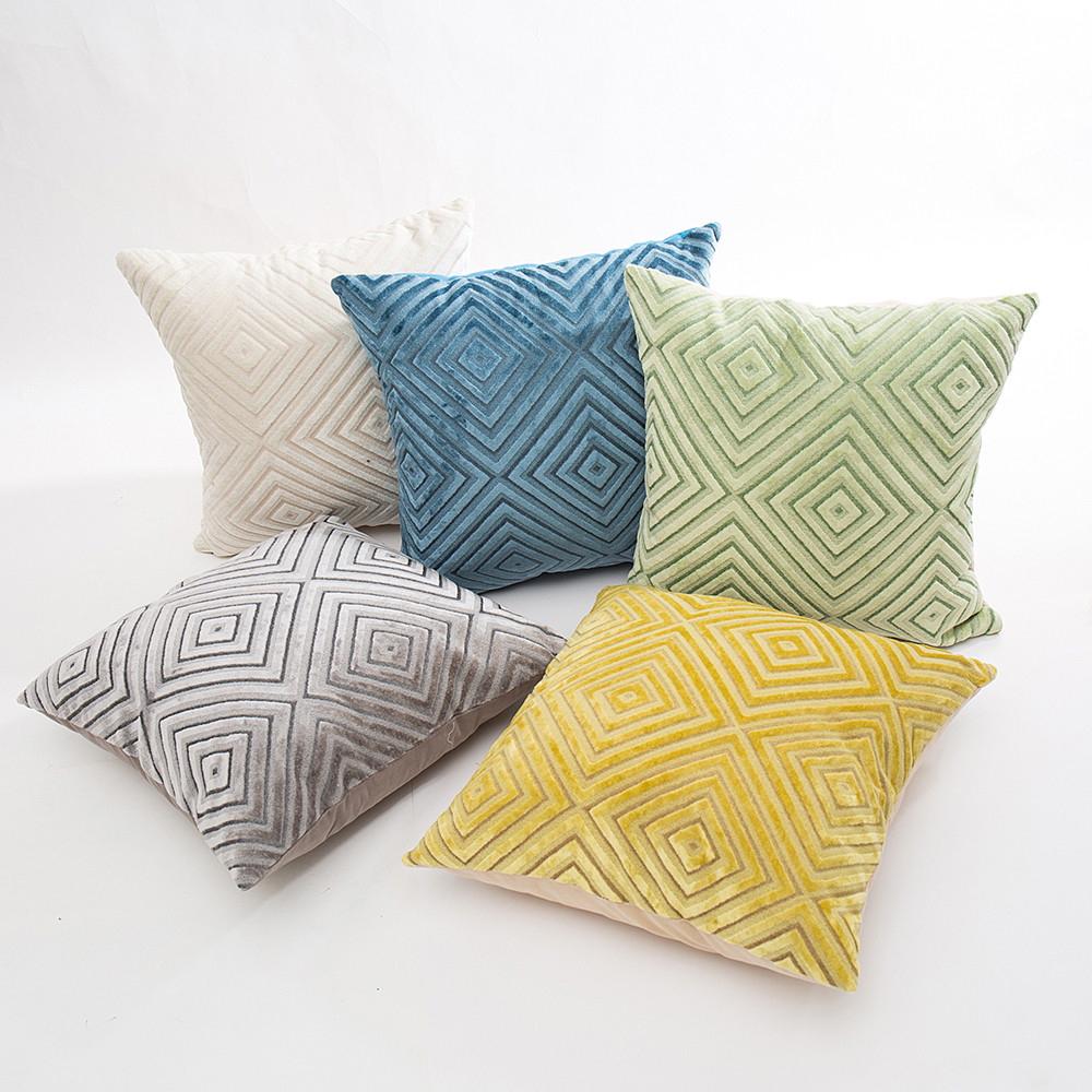 Brief Linen Flocking Pillow Sofa Waist Throw Cushion Home Decor Cushion Cover