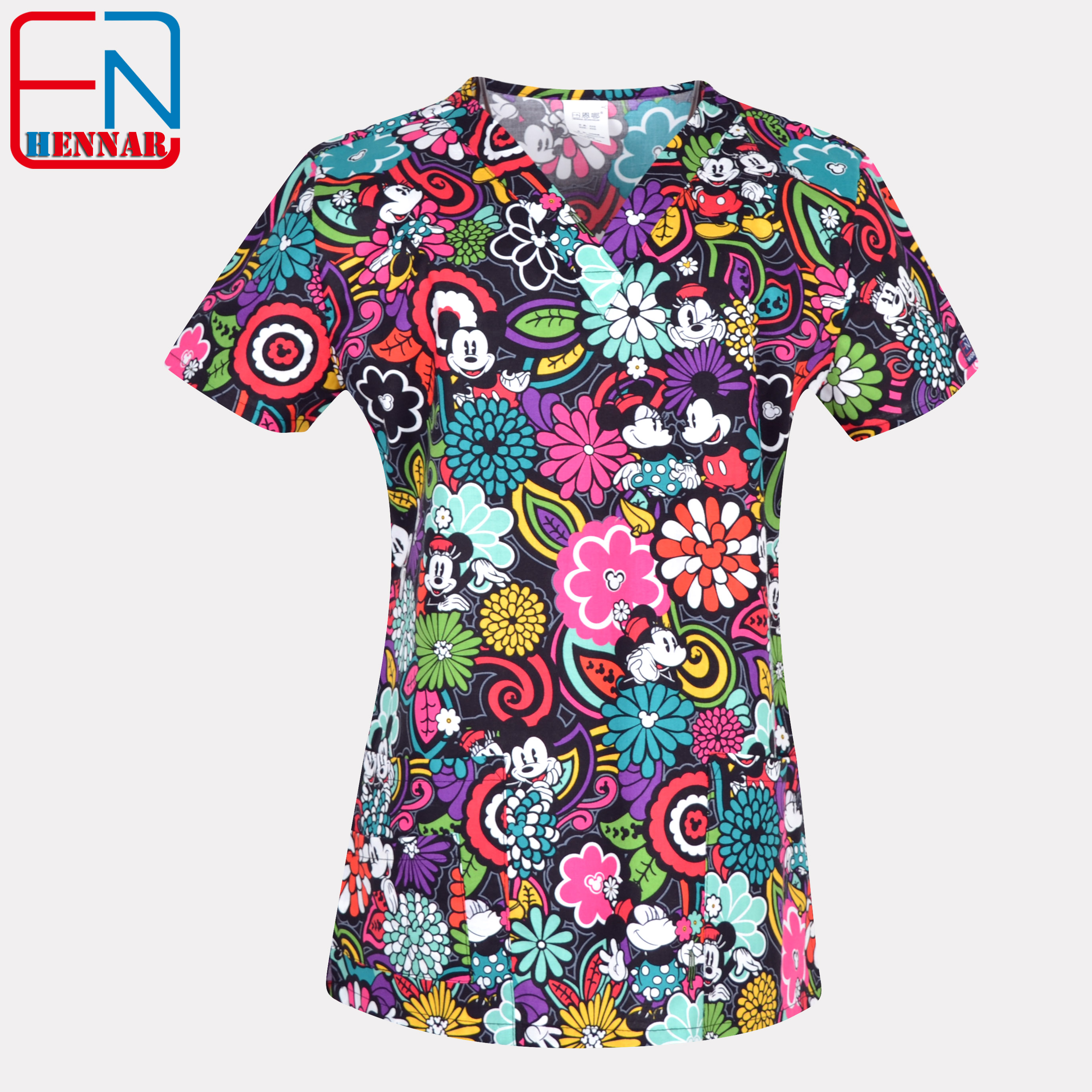 1908 NEW Hennar Women Scrub Top With V-Neck 100% Cotton Print Surgical Medical Uniforms Hospital Nurse Scrub Tops For Women