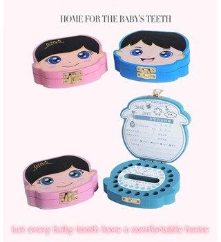 Wooden Baby Tooth Box English /spanishOther Languages Milk Teeth Umbilical Organizer Storage Boys Girls Souvenir Case Gifts