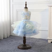 New Arrival Light Blue Short Tulle Regalos Comunion Flower Girls Dresses For Party and wedding