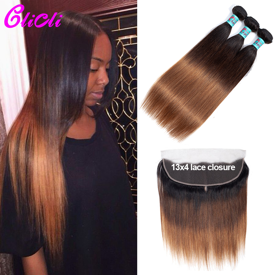 Peruvian Ombre Hair Weave Bundles With Frontal 1B 4 30 Straight Human Hair Bundles With 13x4 Lace Closure Extensions Remy Clicli