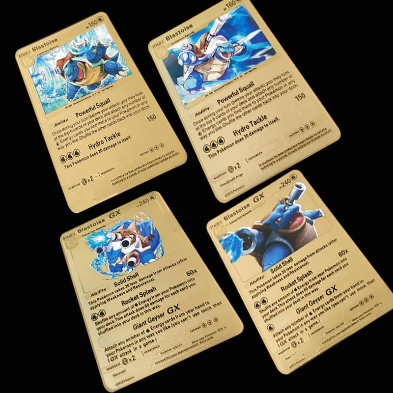 6 Styles Sheets Pokemon Metal Card Blastoise Series Golden Card Collection Gift Kids Game Collection Cards
