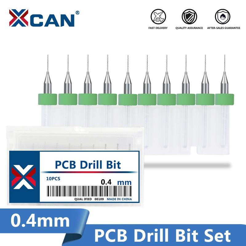 XCAN 10pcs 3.175mm(1/8'') Shank Micro PCB Drill Bits For Drill Print Circuit Board Carbide Gun Drill Bit 0.4mm